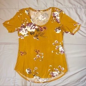 Maurices Mustard Floral T- Shirt